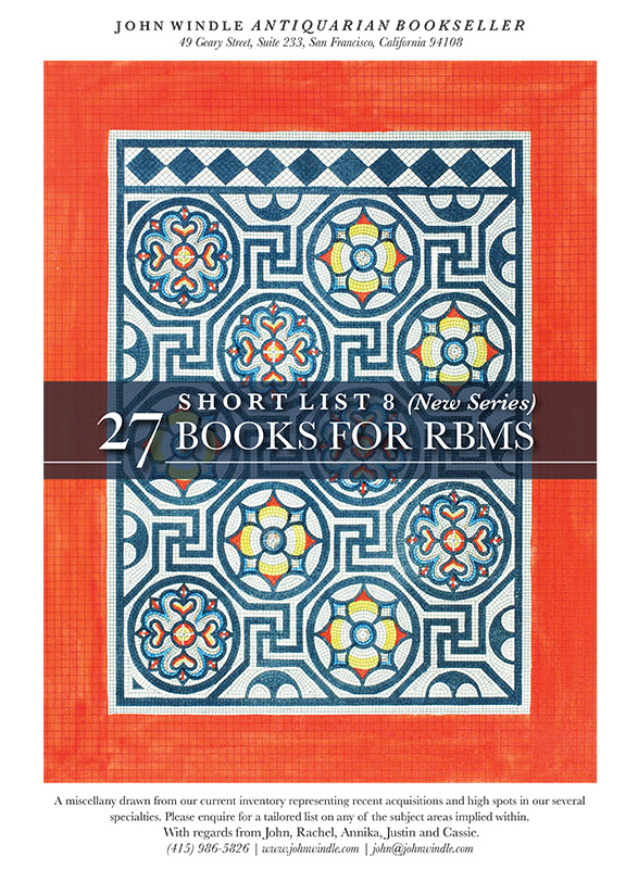 Short List 8 (New Series): 27 Books for RBMS