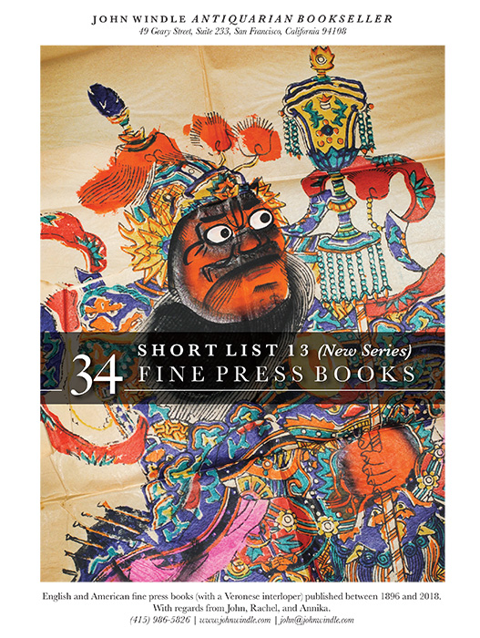 Short List 13 (New Series): 34 Fine Press Books