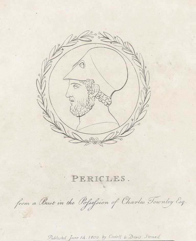 """Frontispiece """"Pericles"""" to: An Essay on Sculpture: In a Series of Epistles to John Flaxman. William Hayley, separate plate."""