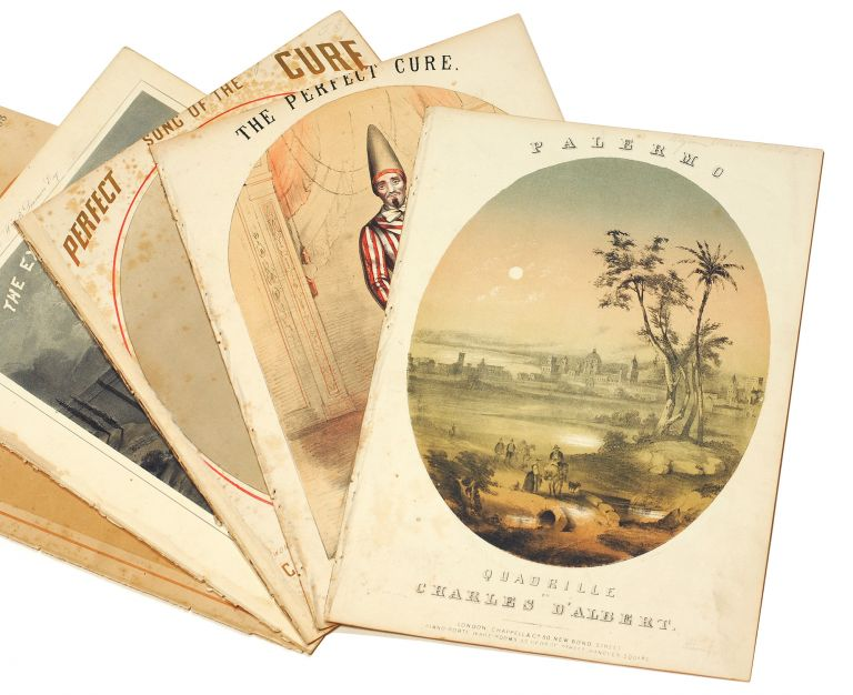 A collection of six pieces of 19th century sheet music. Sheet music, Chromolithography.