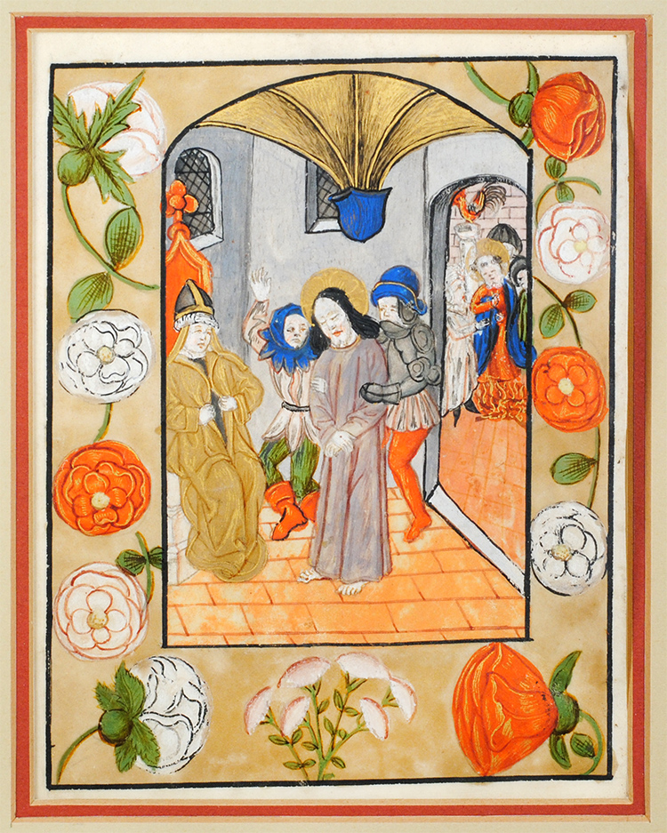 Christ before Caiaphas. Illuminated manuscript leaf on vellum.