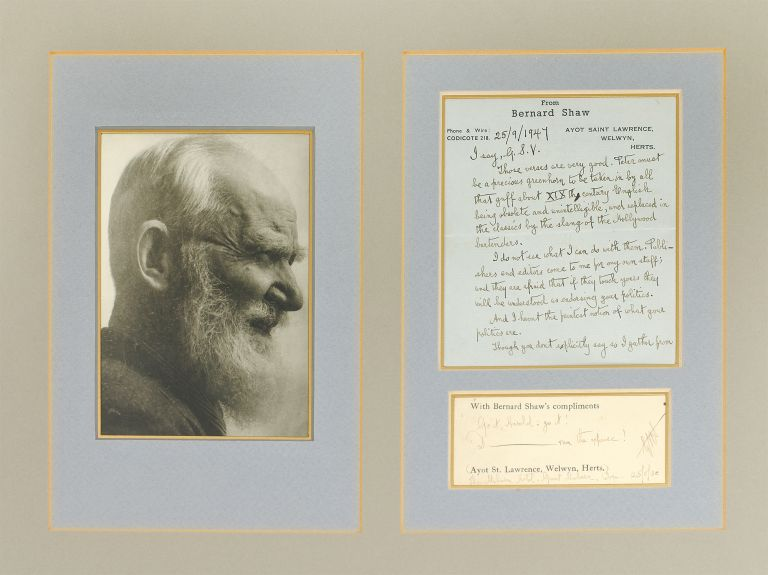 Autograph Letter Signed to George Sylvester Viereck [and] Compliments slip with an inscription. George Bernard Shaw.