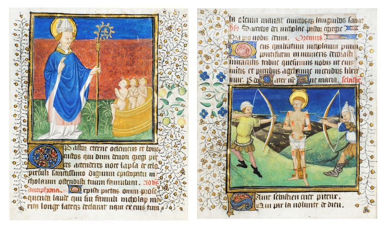 Illuminated leaf from a Book of Hours with St. Nicholas and St. Sebastian. Illuminated manuscript leaf on vellum.