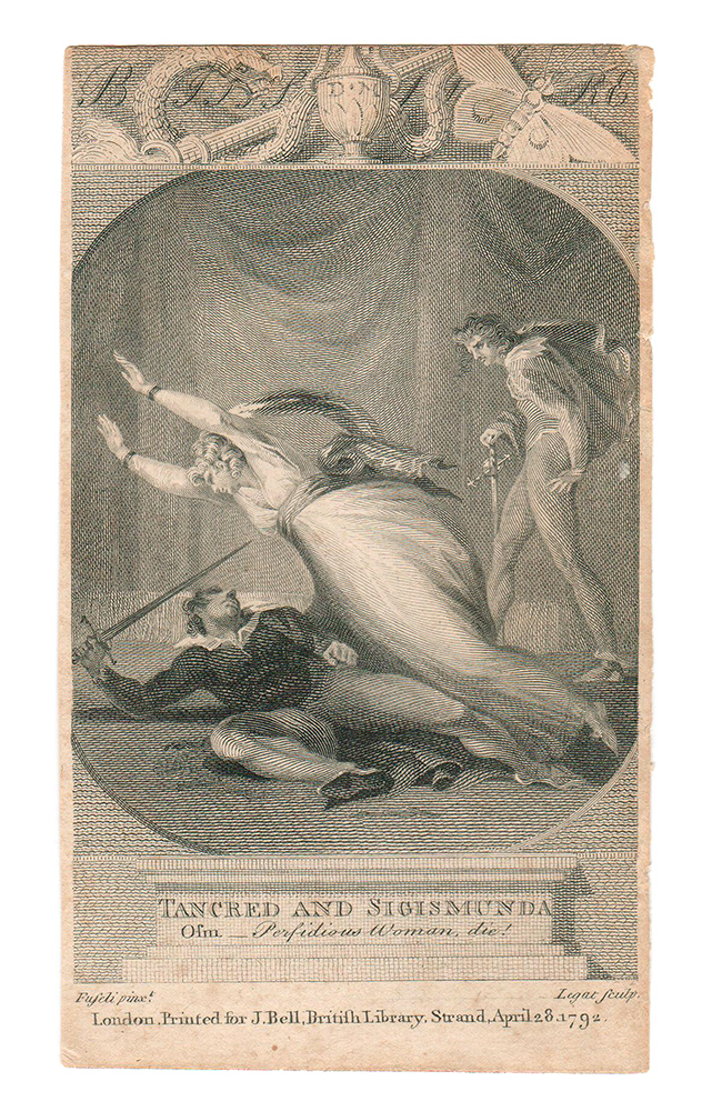 """[illustration to] Bell's British Theater. [by John Bell] (Tancred and Sigismunda, """"Oh Perfidious Woman, die!""""). Henry Fuseli, Francis Legat, John Bell, designer."""