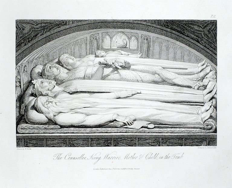 """""""The Counseller, King, Warrior, Mother & Child, in the tomb"""": in The Grave. William. Blair Blake, Robert, separate plate."""