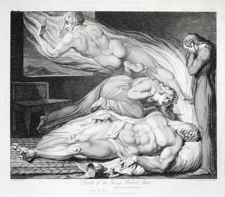 """""""The Death of the Strong Wicked Man."""" A single plate from Robert Blair's The Grave. William. Blair Blake, Robert."""
