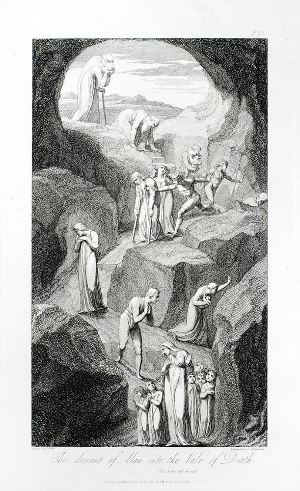 """The Descent of Man into the Vale of Death"": in The Grave. William. Blair Blake, Robert, separate plate."