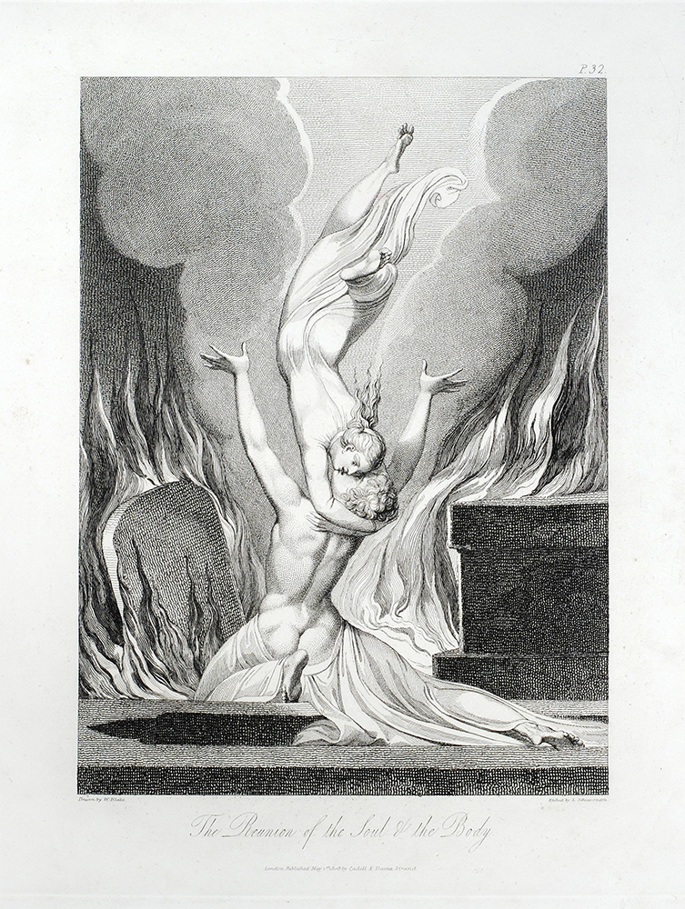 """""""The Reunion of the Soul and Body"""": in The Grave. William. Blair Blake, Robert, separate plate."""