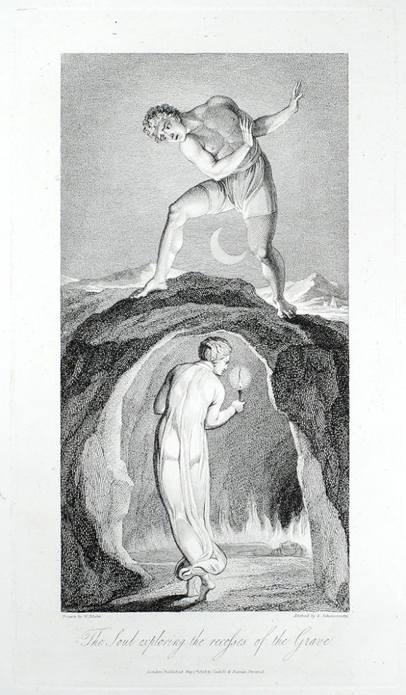 """""""The Soul exploring the recesses of the Grave"""": in The Grave. William. Blair Blake, Robert, separate plate."""