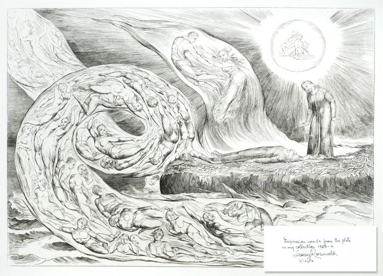 """Blake's Illustrations of Dante. Plate 1: """"The Circle of the Lustful: Paolo and Francesca"""". Dante. William Blake."""