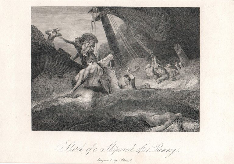 """The Life of George Romney. """"Sketch of a Shipwreck after Romney"""". William. Hayley Blake, William."""