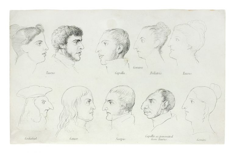 A Treatise of Zodiacal Physiognomy, illustrated with engravings of heads and features. Single plate: 10 Zodiac profiles. John Varley, William Blake.