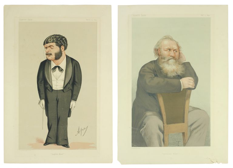 "Caricature portraits of composers Charles-François Gounod and Arthur Sullivan, captioned ""English Music"" and ""Emotional Music"". Caricatures, Vanity Fair."