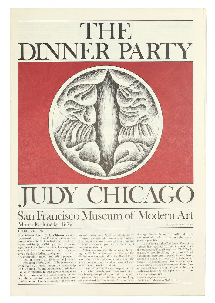 The Dinner Party. San Francisco Museum of Modern Art March 16-June 17, 1979. Judy Chicago.