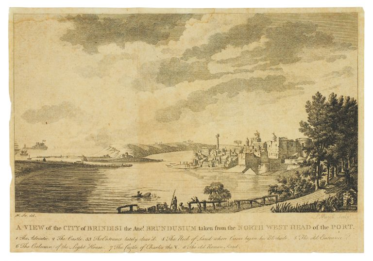 A View of the City of Brindisi the Anc.t Brundusium taken from the North West Head of the Port. P. Mazell, H. Swinburne, sculp, del.