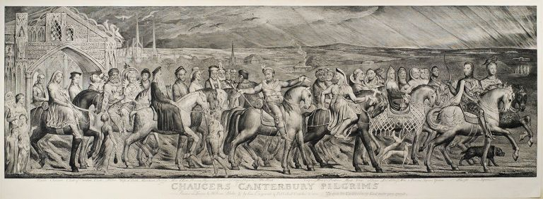 Chaucers Canterbury Pilgrims Painted in Fresco by William Blake & by him Engraved & Published October 8 1810. William Blake.