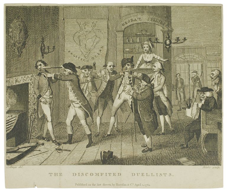 """The Wit's Magazine. Plate 3: """"The Discomfited Duellists."""". William Blake."""