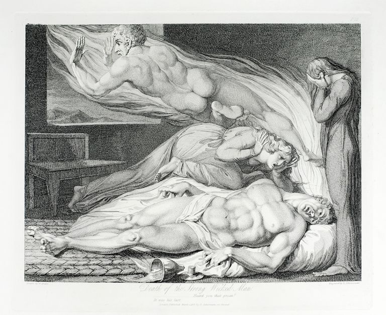 """The Death of the Strong Wicked Man."" A single plate from Robert Blair's The Grave. William. Blair Blake, Robert, separate plate."
