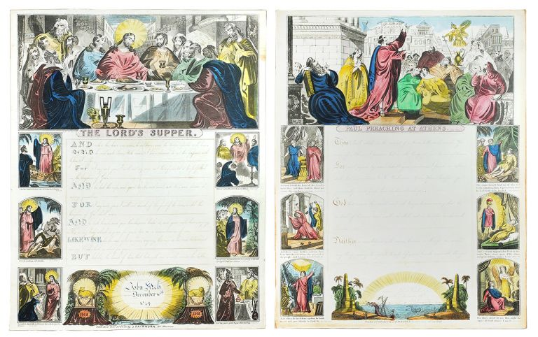 """Writing blanks depicting """"The Lord's Supper"""" [and] """"Paul Preaching at Athens', inscribed with handwriting exercises by the same person a year apart. John Fairburn Writing Blanks."""
