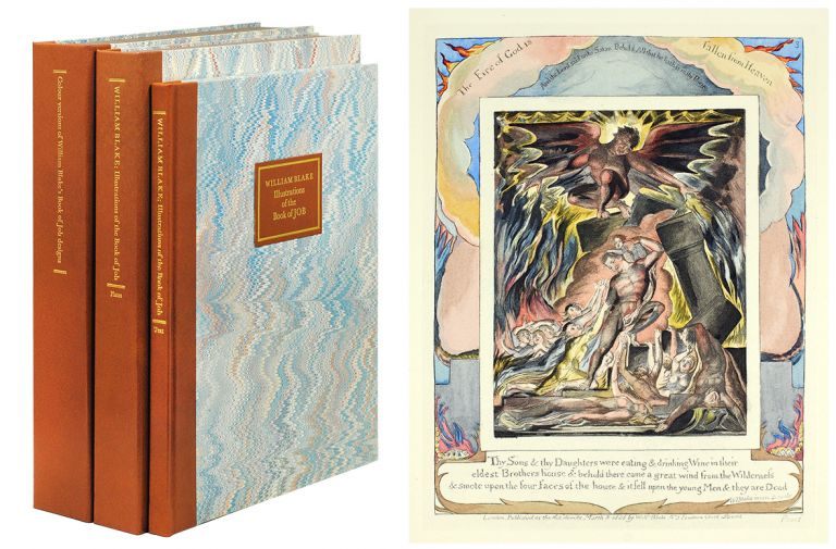 Illustrations of the Book of Job... ; Colour versions of William Blake's Book of Job designs from the circle of John Linnell. The Engravings and related material with Essays, Catalogue of States and printings, Commentary on the Plates and Documentary Record by David Bindman, Barbara Bryant, Robert Essick, Geoffrey Keynes and Bo Lindberg. William Blake, Bo Lindberg, David Bindman, Essayist.
