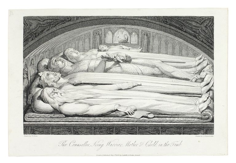 """The Counseller, King, Warrior, Mother & Child, in the tomb"": in The Grave. William. Blair Blake, Robert, separate plate."