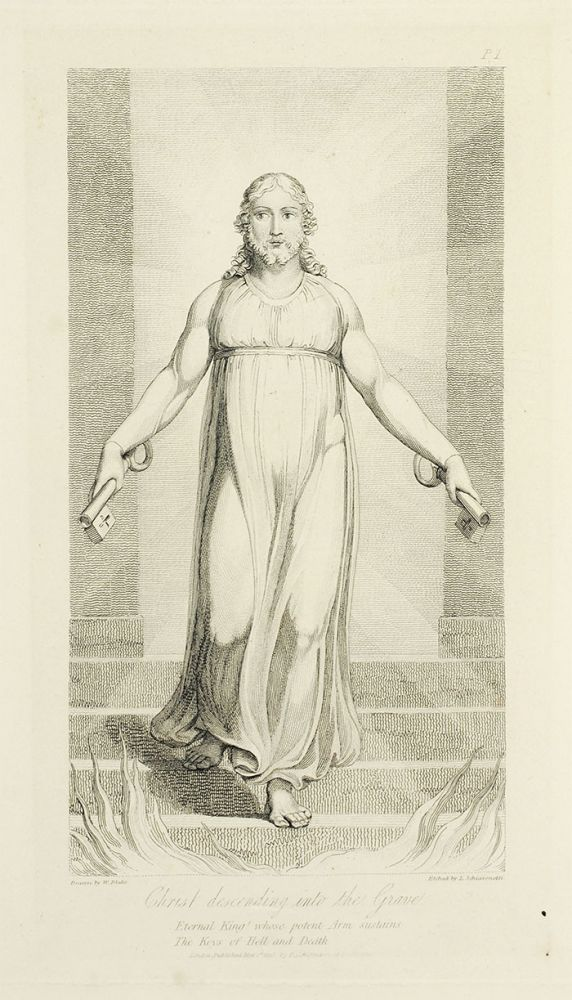 """""""Christ descending into the Grave"""": p. 1 from The Grave. William. Blair Blake, Robert, separate plate."""
