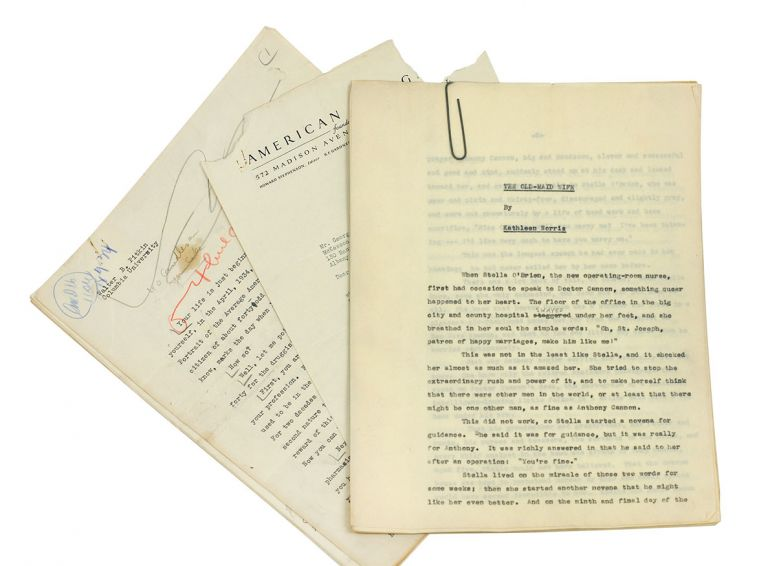 """""""The Old-Maid Wife,"""" the corrected typescript of a short story [together with] an original typescript of an article by the author of """"Life Begins at 40."""" Kathleen Pitkin Norris, Walter B., and."""