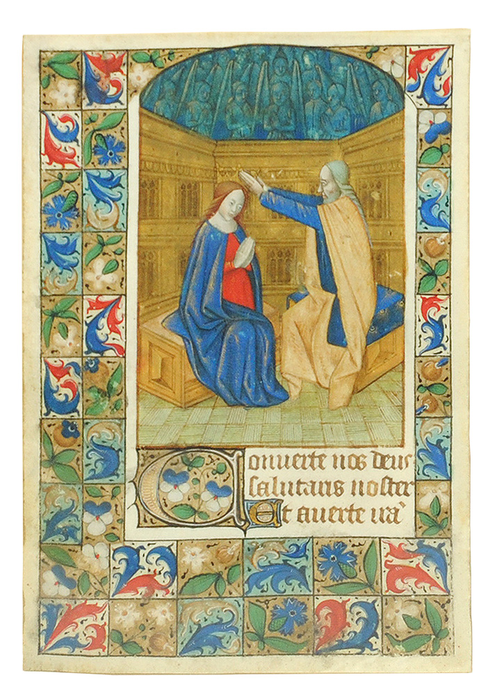 Coronation of the Virgin, miniature from a Book of Hours. Illuminated manuscript leaf on vellum.
