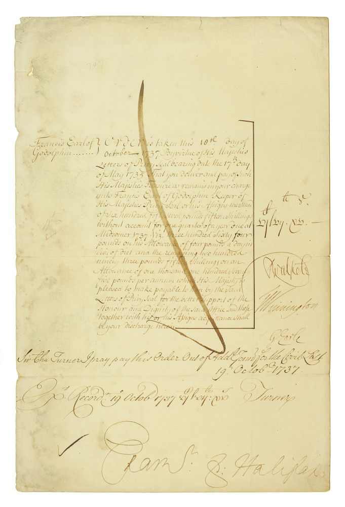 Parliamentary Order to Pay the Lord Privy Seal, Francis, Earl of Godolphin. Francis. 2nd Earl of Godolphin Godolphin.