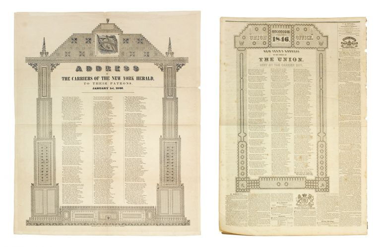 Address of the New York Herald, To Their Patrons. January 1st, 1846. [Together with a single issue of the Sacramento Union, January 7, 1846, containing a similar address]. Typography Broadside.