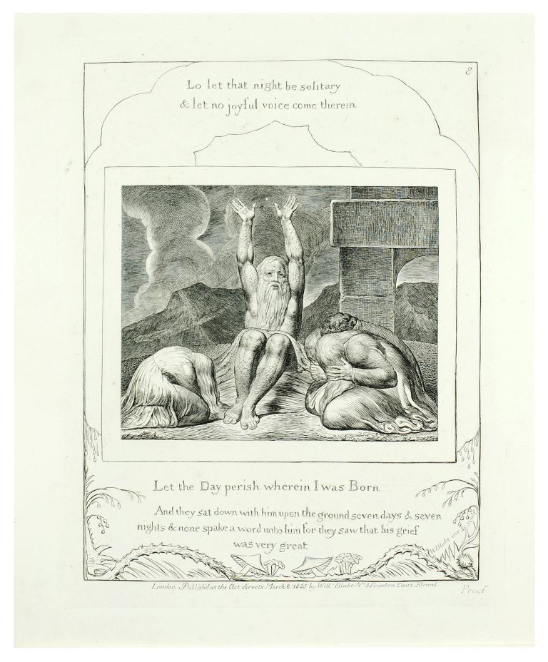 """Illustrations of the Book of Job. Plate #8 """"Let the Day Perish Wherein I was born."""". William Blake."""