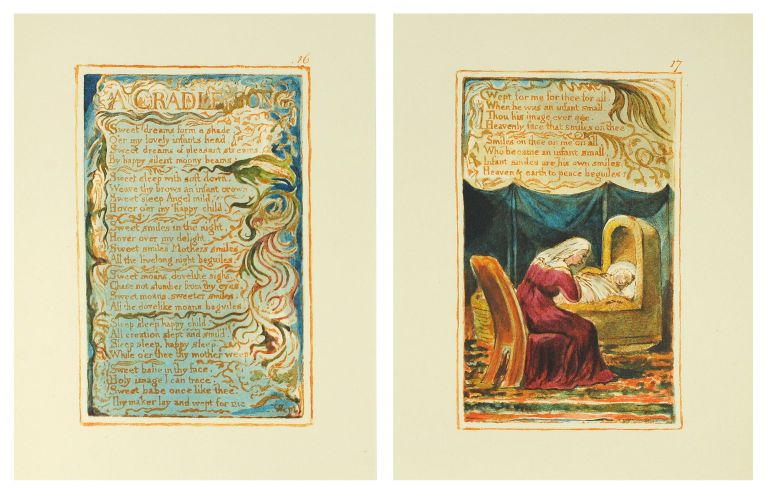 Songs of Innocence and of Experience, Plates 16 and 17: A Cradle Song. William Blake.