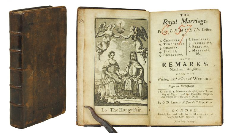The royal marriage. Prince Lemuel's Lesson of 1. Chastity, 2. Temperance, 3. Charity, 4. Justice, 5. Education, 6. Industry, 7. Frugality, 8. Religion, 9. Marriage, with remarks moral and religious upon the virtues and vices of wedlock. Oswald Dykes.