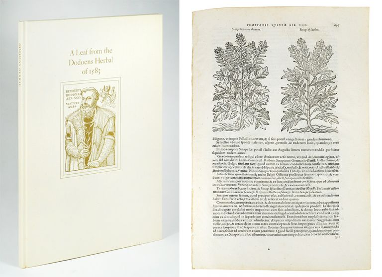 A Leaf from the 1583 Rembert Dodoens Herbal Printed by Christopher Plantin. With a short essay by Carey S. Bliss. Leaf Book, Carey Bliss.