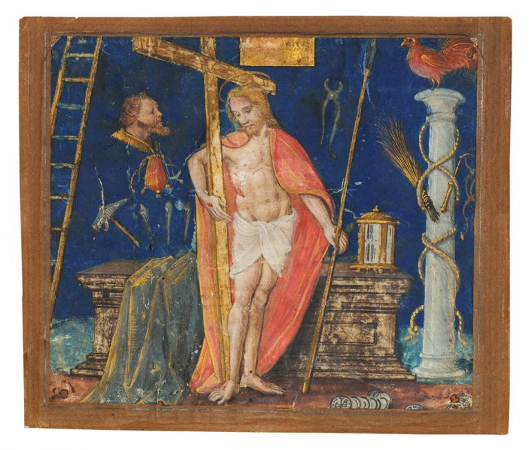 Christ with the Cross from an Antiphonal. Illuminated manuscript leaf on vellum.