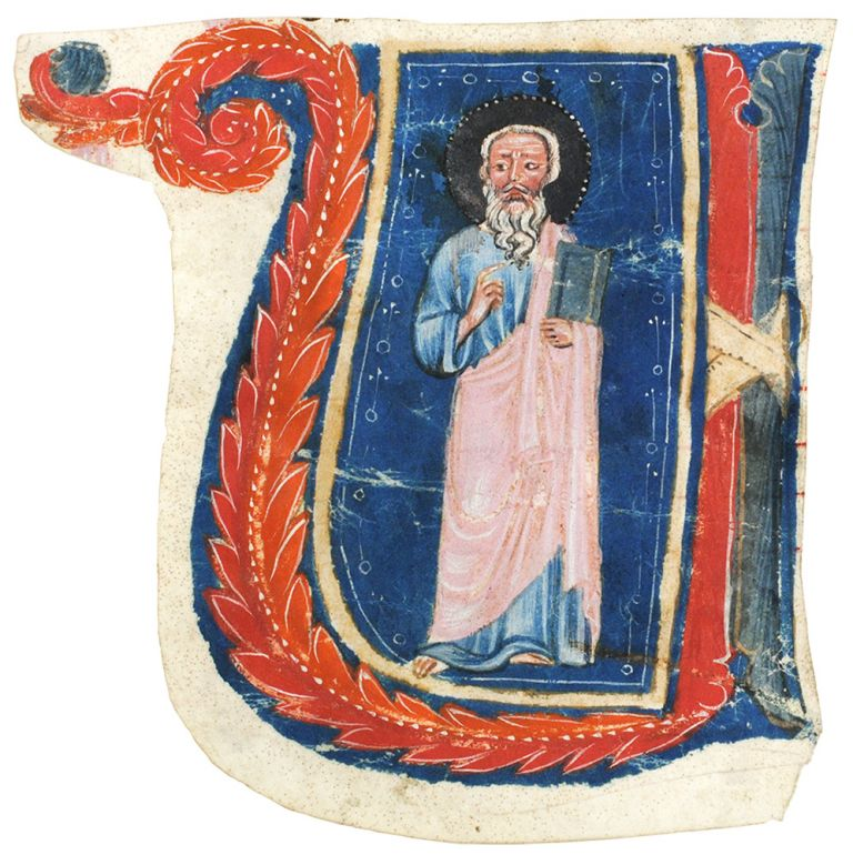 Historiated initial 'U' of a standing Saint, cut to shape from a choirbook. Illuminated manuscript leaf on vellum.