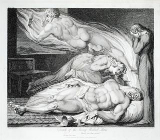 """The Death of the Strong Wicked Man."" A single plate from Robert Blair's The Grave. William...."