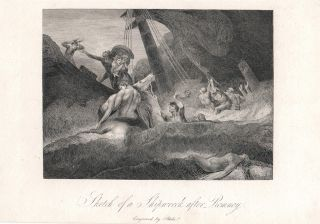 "The Life of George Romney. ""Sketch of a Shipwreck after Romney"". William. Hayley Blake, William"