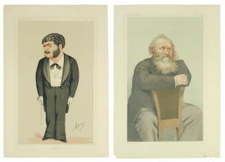 Caricature portraits of composers Charles-François Gounod and Arthur Sullivan, captioned...