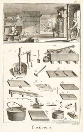 Cartonnier et gauffreur en carton (Board-making and embossing). Encyclopédie, ou dictionnaire...