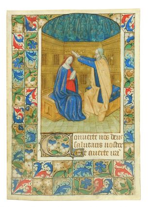 Coronation of the Virgin, miniature from a Book of Hours. Illuminated manuscript leaf on vellum