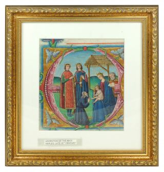 Adoration of the Magi. Illuminated manuscript leaf on vellum