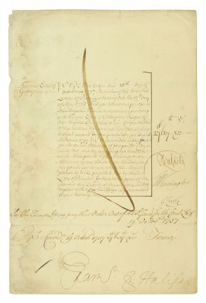 Parliamentary Order to Pay the Lord Privy Seal, Francis, Earl of Godolphin. Francis. 2nd Earl of...