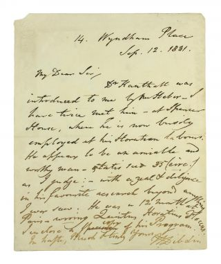 ALS concerning 'Dr. Hanthall', recipient unknown. Thomas Frognall Dibdin