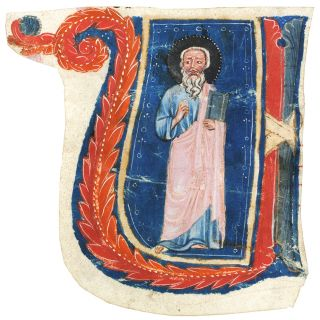 Historiated initial 'U' of a standing Saint, cut to shape from a choirbook. Illuminated...